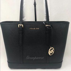 MICHAEL KORS JET SET TRAVEL SMALL ZIP TOTE BLACK